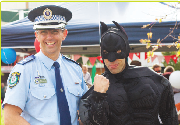 Superintendent Danny Sullivan with Batman. Past winner of a Local Hero award