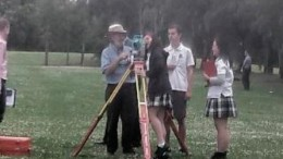 Henry Kendall High School students participating in trigonometric activities at Bicentennial Park