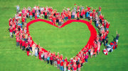 Demonstrators in 2106 form a heart to symbolise Gosford's need for a cultural focus on waterfront park.