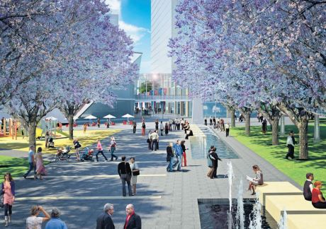 Part of the Lederer Group's concept plan, Watt Street Link looking to Imperial Centre