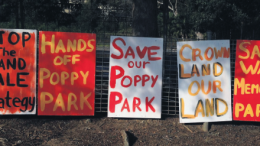 Save our parks signs on the Gosford waterfront