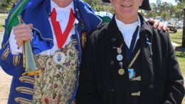 Stephen Clarke of Gosford with herald John Edwards. Clarke took out the champion