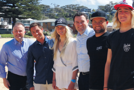 From left to right, Mr Adam Crouch, Member for Terrigal, Surfi ng NSW CEO Mr Luke Madden, Avoca surfer, Macy Callaghan, NSW Minister for Sport, Mr Stuart Ayres, Shelly Beach surfer Shane Holmes, and Avoca surfer, Finn Hill