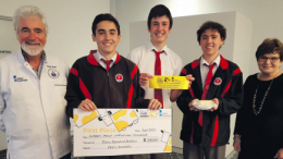 Cheesey grins all round for Year 10 students from Green Point Christian College who took out fi rst place