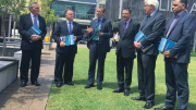 From left: Dr Brok Glenn, Dean of Central Coast Campus of UON, Mr Adam Crouch, Mr Rob Stokes, Mr Scot MacDonald, Mr Ian Reynolds and Mr Sean Gordon