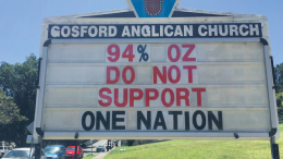 The sign at the front of Christ Church Gosford