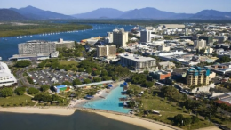 A view of Cairns waterfront from the air