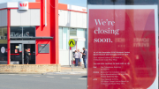 The Westpac branch in West St, Umina, and (inset) the notice in the window announcing the closure