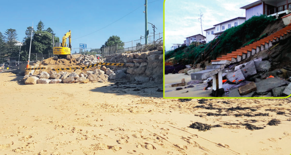 Revetment work to protect Terrigal and (inset) storm damage at Wamberal in June