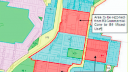 Diagram of the areas to be rezoned to form the new Commercial Core