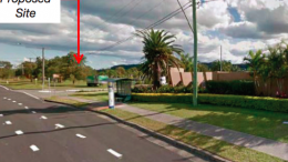 A street view showing developments close to the subdivision site