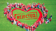 Demonstrators in 2106 form a heart to symbolise Gosford's need for a cultural focus on waterfront park. Now Rejected by NSW Government property.