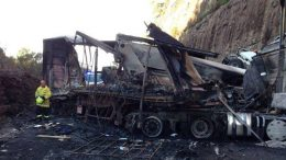 The wreck that blocked the M1 all day. photo via ABC Central Coast FaceBook