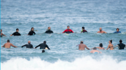 The traditional Paddle Out Ceremony at the Norah Head Surfing Fraternity 40th anniversary