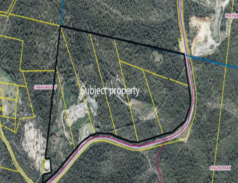 An aerial view of the land which includes 30 hectares of existing quarry