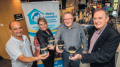 Sponsor Ron Mussalli (left) and Coast Shelter CEO Mr Laurie Maher (second from right) at the launch of the coffee cup campaign.