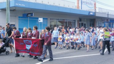 Students and staff from Umina Beach Public School attended the Woy Woy Anzac Day march