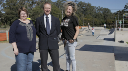 Berkeley Vale Neighbourhood Centre's Ms Gillian Holton, Council's Mr Brett Sherar and Regional Youth Support Services' Ms Virginia Walshaw at the opening of the Berkeley Vale Skate Park