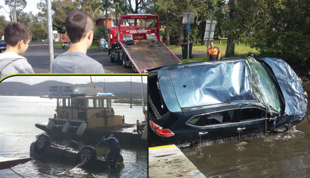 Car being pulled out of the water at Davistown Photo: Anthony Wagstaffe