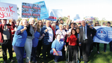 Federal Member for Dobell, Ms Emma McBride, Member for Gosford, Ms Liesl Tesch and Member for Wyong, Mr David Harris with campaigners and Wyong Hospital staff following the NSW Government announcement
