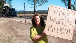 Ms Louise Greenaway, independent candidate for the Wyong Ward, near ongoing Council work at the Central Coast Airport