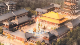 Artist's impression of the theme park with buddhist statue at the centre