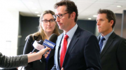 Mr Stephen Jones, Shadow Minister for Regional Communications, with Ms Emma McBride, Member for Dobell, and Mr Josh Wilson, Joint Standing Committee Member, speaking to media at Mingara