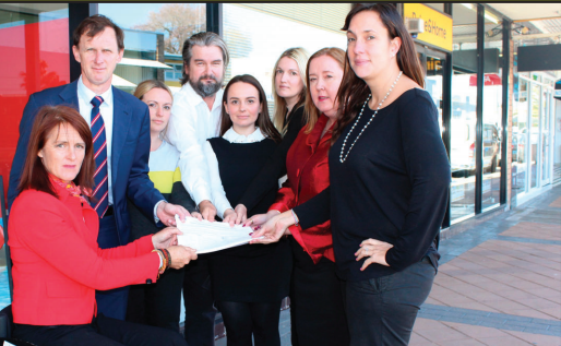 Ms Liesl Tesch, Mr David Mehan, and Ms Jenny Aitchison receive the petition calling for the F restoration of funding to CCAdvice from Ms Catherine Colvey and Public Service Association Organiser, Mr Paul James