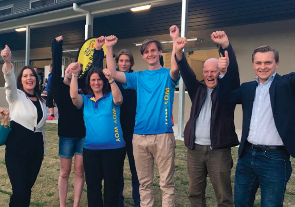 Member for Robertson, Ms Lucy Wicks with Ms Abagail Grimes, Ms Kylie Brown, Ryan Brown, Luke Brown, Mr Bob Walkley and Mr Taylor Martin at the offi cial opening of the new McEvoy Oval amenities building