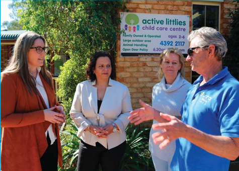 Federal Member for Dobell, Emma McBride and Shadow Minister for Communications, Michelle Rowland, with Barry and Cheryl Stokeld, owners of the Active Littlies Child Care Centre