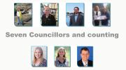Councillors from top left: Louise Greenway, Jillian Hogan, Kyle MacGregor, Bruce McLachlan, Lisa Matthews, Jilly Pilon, Doug Vincent.