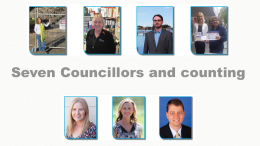 Councillors from top left: Louise Greenway, Jillian Hogan, Kyle MacGregor, Bruce McLachlan, Lisa Matthews, Jilly Pilon, Doug Vincent.