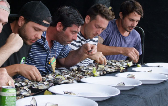 Oyster eating competition at Brisbane Water Oyster festival: Image: www.oysterfestival.com.au