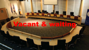 Vacant chairs in the Wyong chamber ready and waiting for the newly-elected councillors to take their places
