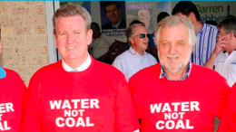 Mr Alan Hayes (right) from the Australian Coal Alliance says Gladys Berejiklian should honour the promise of former Premier, Barry O'Farrell