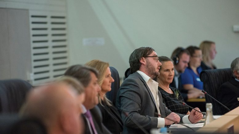 Councillor Kyle MacGregor speaks up at a council meeting. Image archive