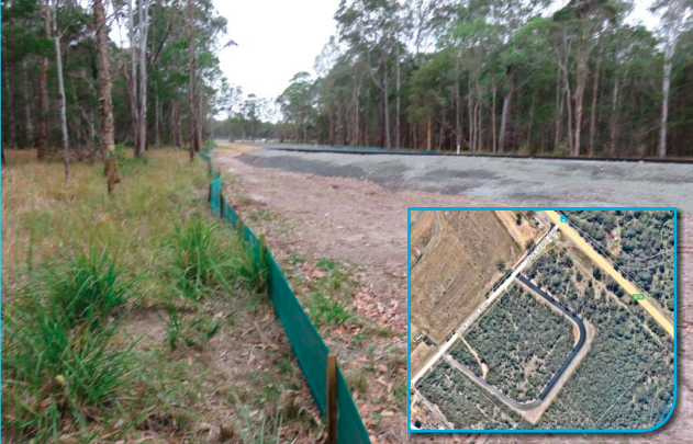 The land was cleared and the road built before the DA was submitted (inset, an aerial view of the road)