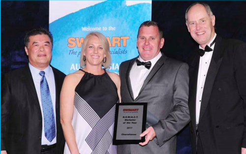 From L-R, Mr Soon Sinn Goh, Waterco chairman and founder of Swimart, Ms and Mr Hollie and Andrew Morton from Swimart Charmhaven, and Mr Darryl Barber