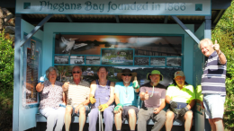 The Bays Community Group at one of their well known bus shelters. Image: Bays Facebook Page