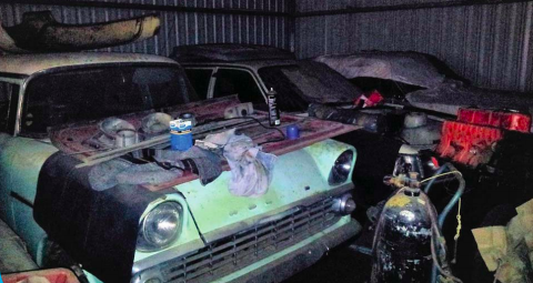 Image of the garage where valuable old Holden parts have been stolen
