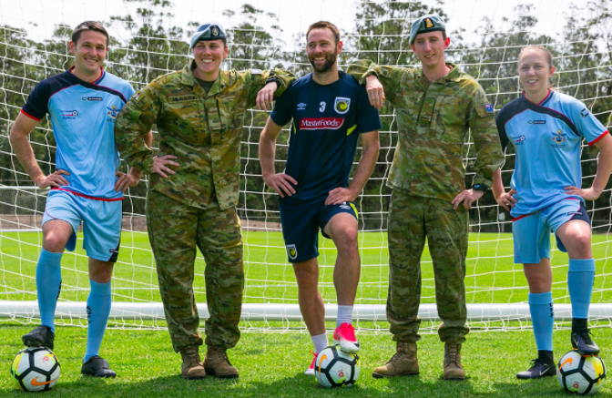 Josh Rose with members of the ADF and Sydney FC players.