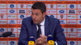 Mariners coach Paul Okon at the post match interview. Img: CCMariners