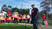 Darkinjung LALC members rally against Wallarah 2 at the PAC hearing on November 3