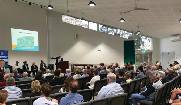 Member for Wyong, Mr David Harris, addressed the community meeting at Warnervale