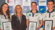 Brooklyn O'Mara (Netball), Central Coast Mayor Jane Smith, Cassandra Van Breugel (Swimming) and Tyler Gunn (Athletics)