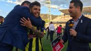 Man of the match Danny De Silva and a very ecstatic Head Coach Paul Okon Image: CCMariners