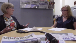 Lee Shearer interviewed by Jackie Pearson in the Central Coast Newspapers Office in Gosford CBD