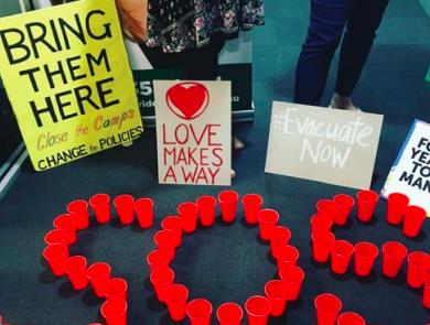 Manus Island refugee protest outside MP Emma McBride's office