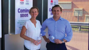Clr Jilly Pilon with Mr Taylor Martin MLC at the site of the Bateau Bay reverse vending machine
