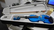 This blue violin is waiting for its owner at Wyong Police Station